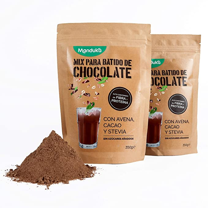 Mix para Batido de Chocolate con Avena, Cacao y Stevia, pack de 2x350gr de