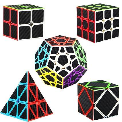 Dreampark Speed Cube Bundle [5 Pack] 2x2 3x3 Pyraminx Megaminx Skewb Carbon Fiber Sticker Magic Cube Puzzle Toy Set of 5