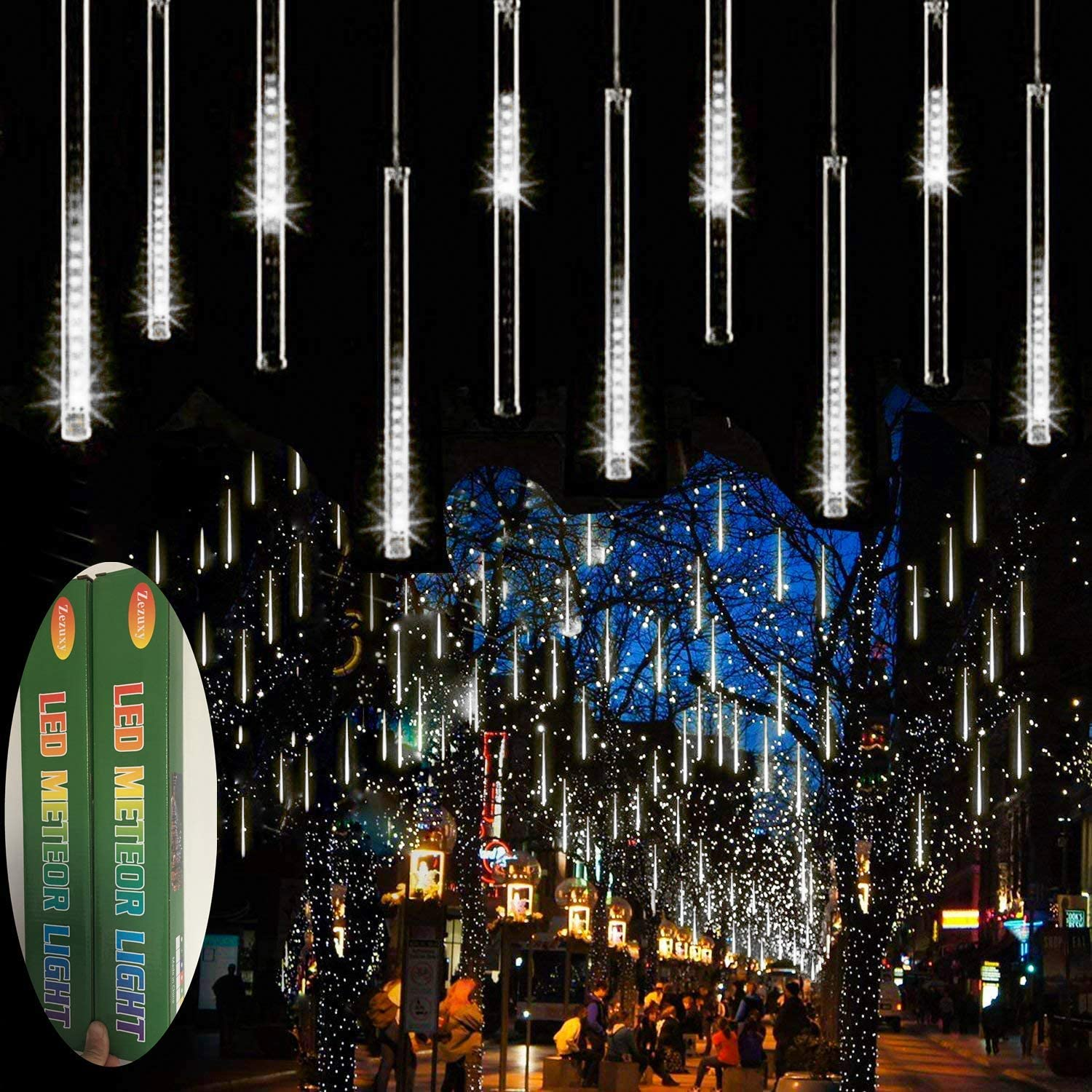 Zezuxy Falling Rain Lights White, UL Listed Meteor Shower Lights with 11.8 inch 8 Tubes 144 LEDs Raindrop Lights, Outdoor Icicle Cascading Christmas String Lights for Trees Thanksgiving Garden Party