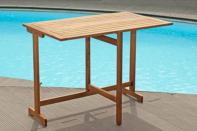 Juego de muebles de jardín Bali 100 1 mesa 100 X60 cm y 2 sillas plegables para balcón Muebles de Madera de Acacia Natural: Amazon.es: Jardín