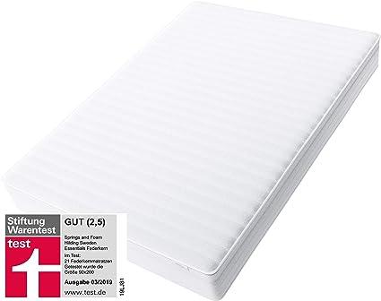Hilding Sweden Essentials Federkernmatratze In Weiß Mittelfeste Matratze Mit Orthopädischem 7 Zonen Schnitt Für Alle Schlaftypen H2 H3 140 X 200
