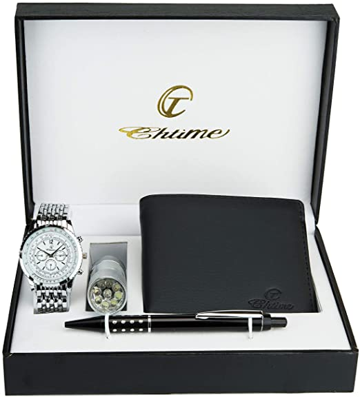 Caja de Regalo Reloj Hombre Billetera Lámpara Torche Bolígrafo: Amazon.es: Relojes