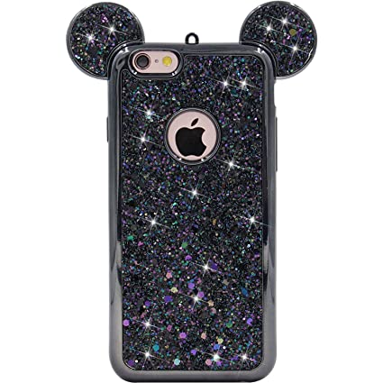 new product 18ade 3e646 MC Fashion iPhone 6s Case, Sparkle Bling Bling Glitter 3D Mickey Mouse Ears  Soft Protective Rubber TPU Case for Apple iPhone 6/6s (Glitter-Black)