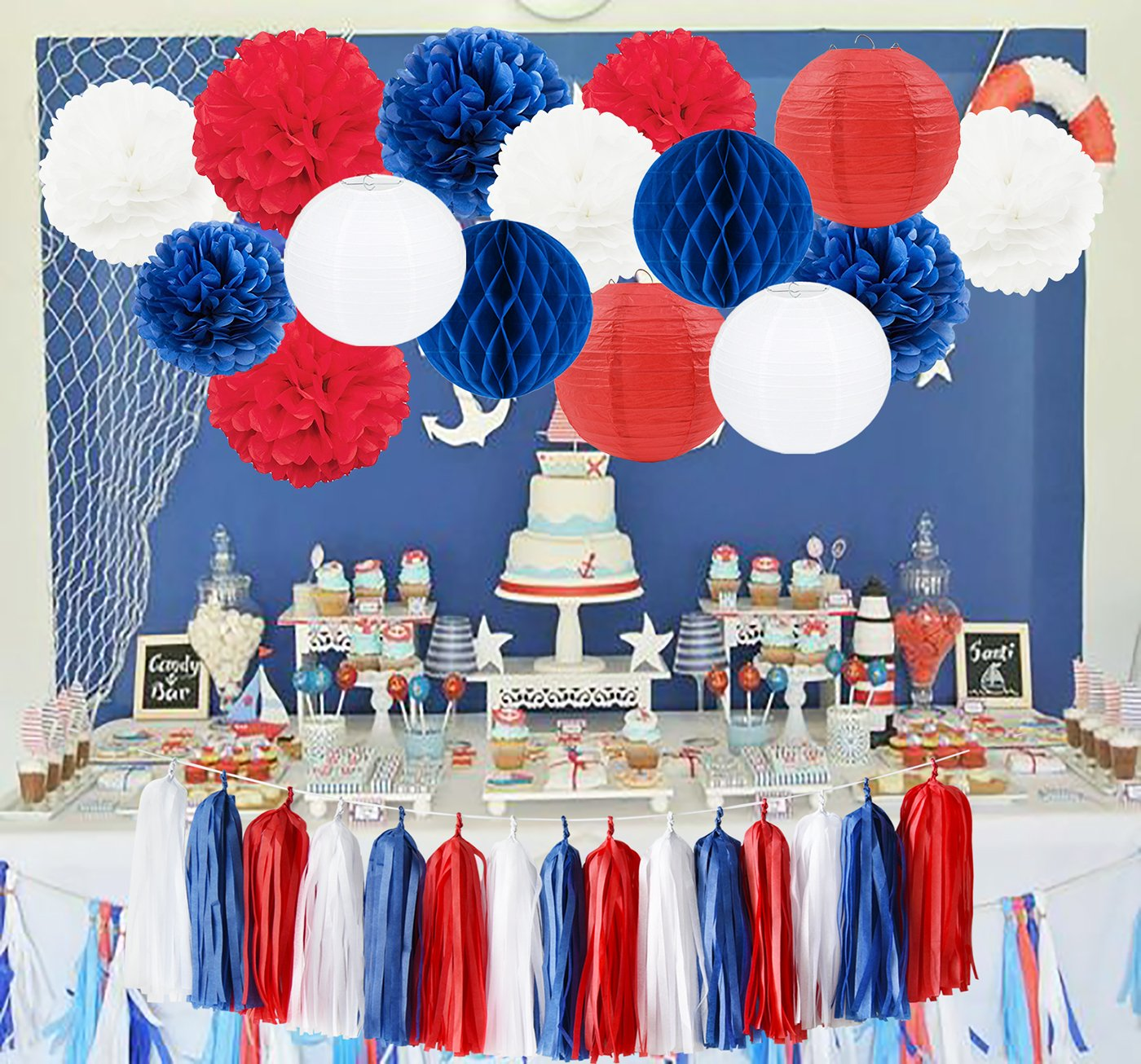 Navy Blue Mixed Red White 4th of July Decorations Patriotic Party Decorations Tissue Pom Pom Paper Lanterns Tassel Garland Fourth of July Party Favors Baby Shower Birthday Sail Boats Party Decorations by Furuix (Image #2)