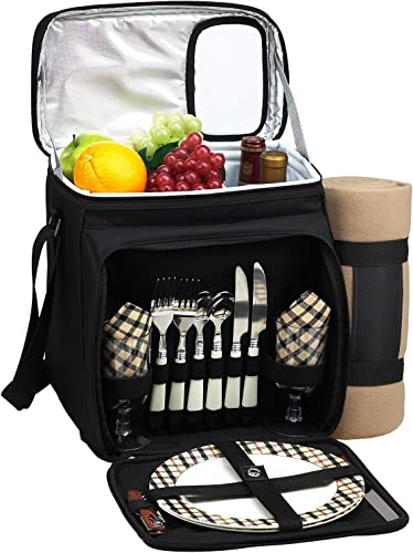 Picnic at Ascot Insulated Picnic Basket Cooler Fully Equipped for 2 with Blanket – Black