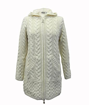 100% Irish Merino Wool Ladies Hooded Aran Zip Sweater Coat by West ...