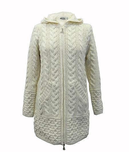 100% Irish Merino Wool Ladies Hooded Aran Zip Sweater Coat by West ...
