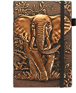 "ZYWJUGE Leather Notebook Journal Lined Pages, Hardcover Journal Thick Paper, Elephant Gifts for Women & Men, Pen Holder, Elastic Closure, Bookmark, 2 X Inner Pocket (5.8"" X 8.3"")"