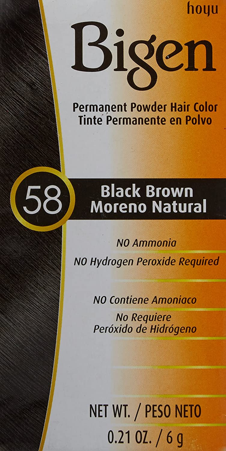 Amazon.com : Bigen Hair Coor 58- Black Brown Noir Naturel, 0.21 oz : Chemical Hair Dyes : Beauty