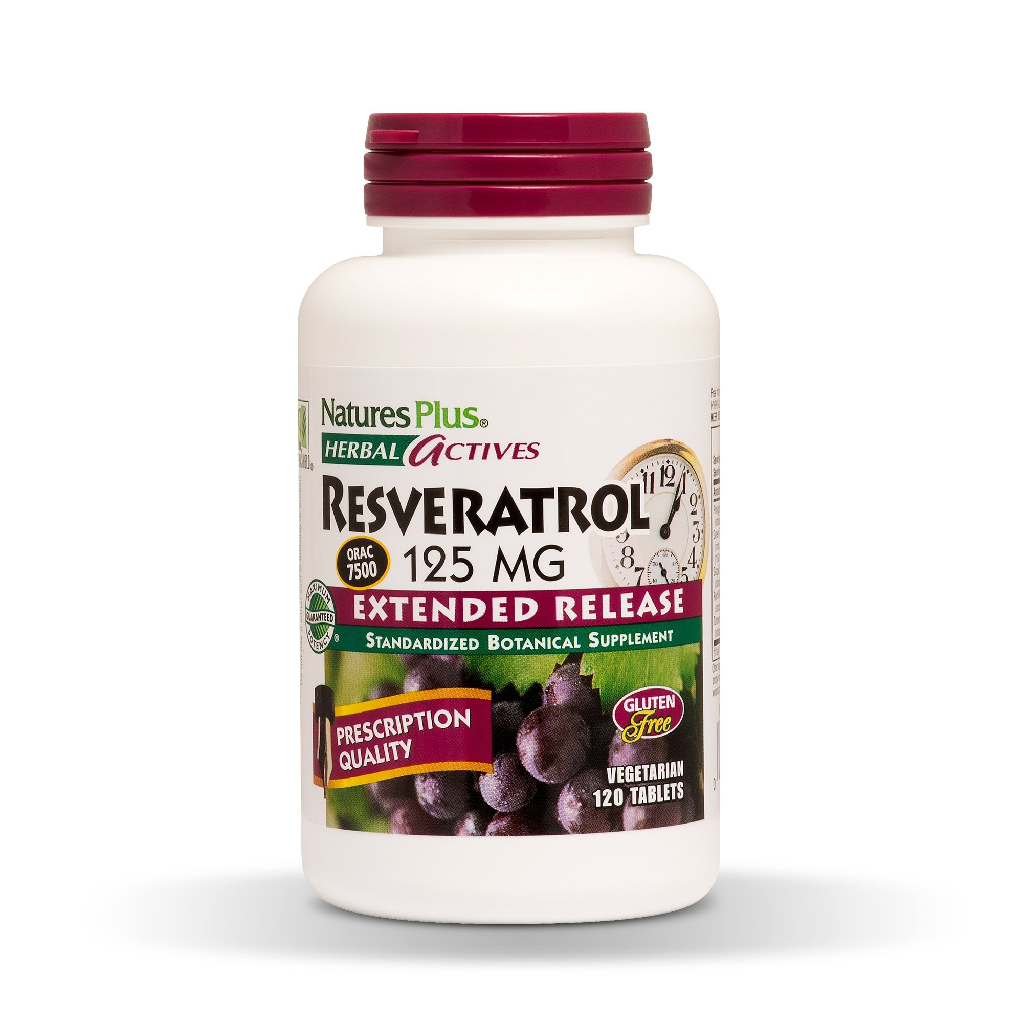 NaturesPlus Herbal Actives Resveratrol, Extended Release - 125 mg, 120 Vegetarian Tablets - Prescription Quality Antioxidant Supplement, Free Radical Defense - Gluten-Free - 60 Servings by Nature's Plus