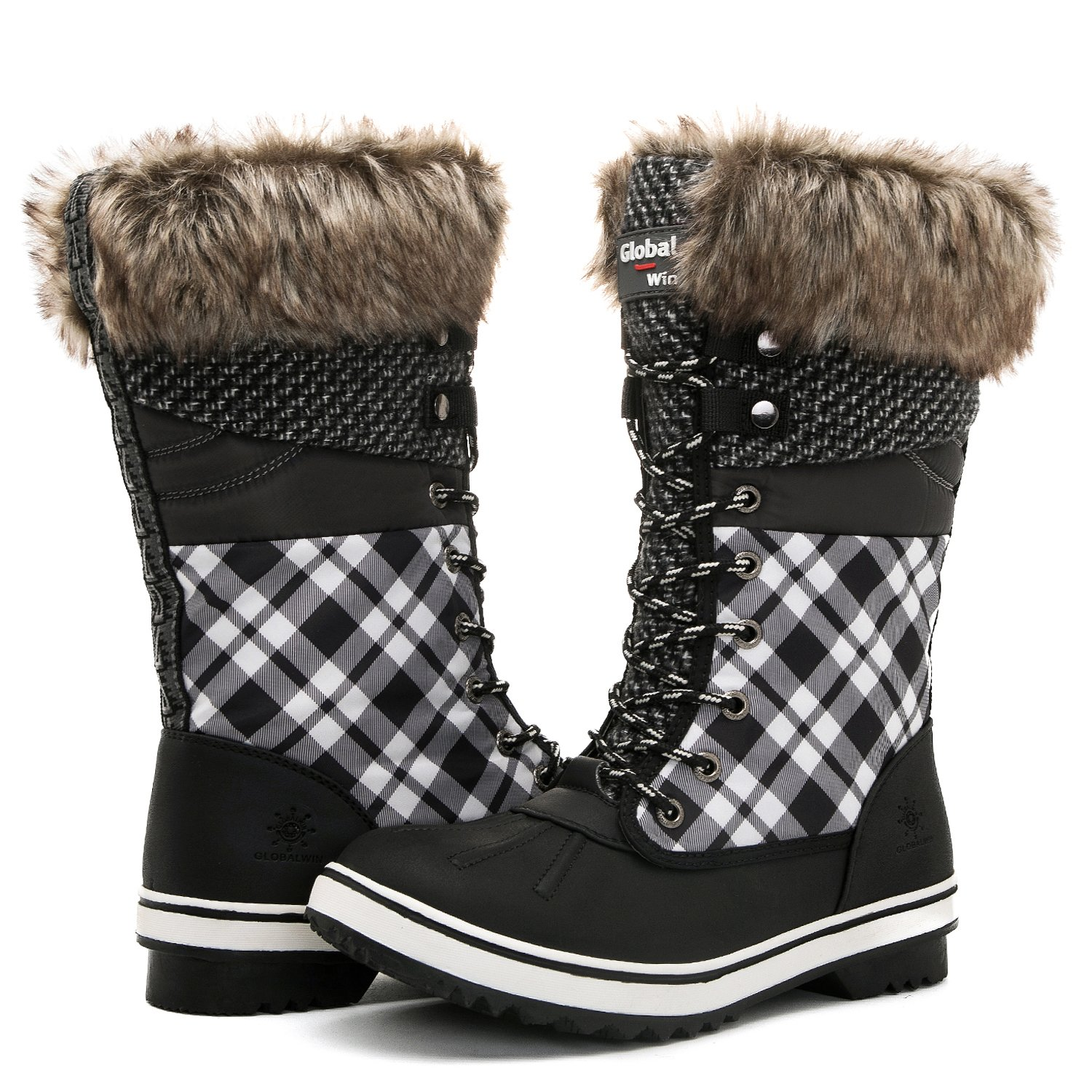 Global Win GLOBALWIN Women's 1730 Winter Snow Boots B075DBCB29 7 B(M) US|1733black/White