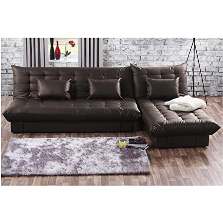 UK Stock] Cravog 3 Seat Faux Leather Corner Sofa Bed With ...