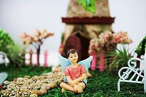 NW Wholesaler - Fairy Garden Fairy Figurines Hand Painted Miniature Fairies (Sitting Boy Fairy)