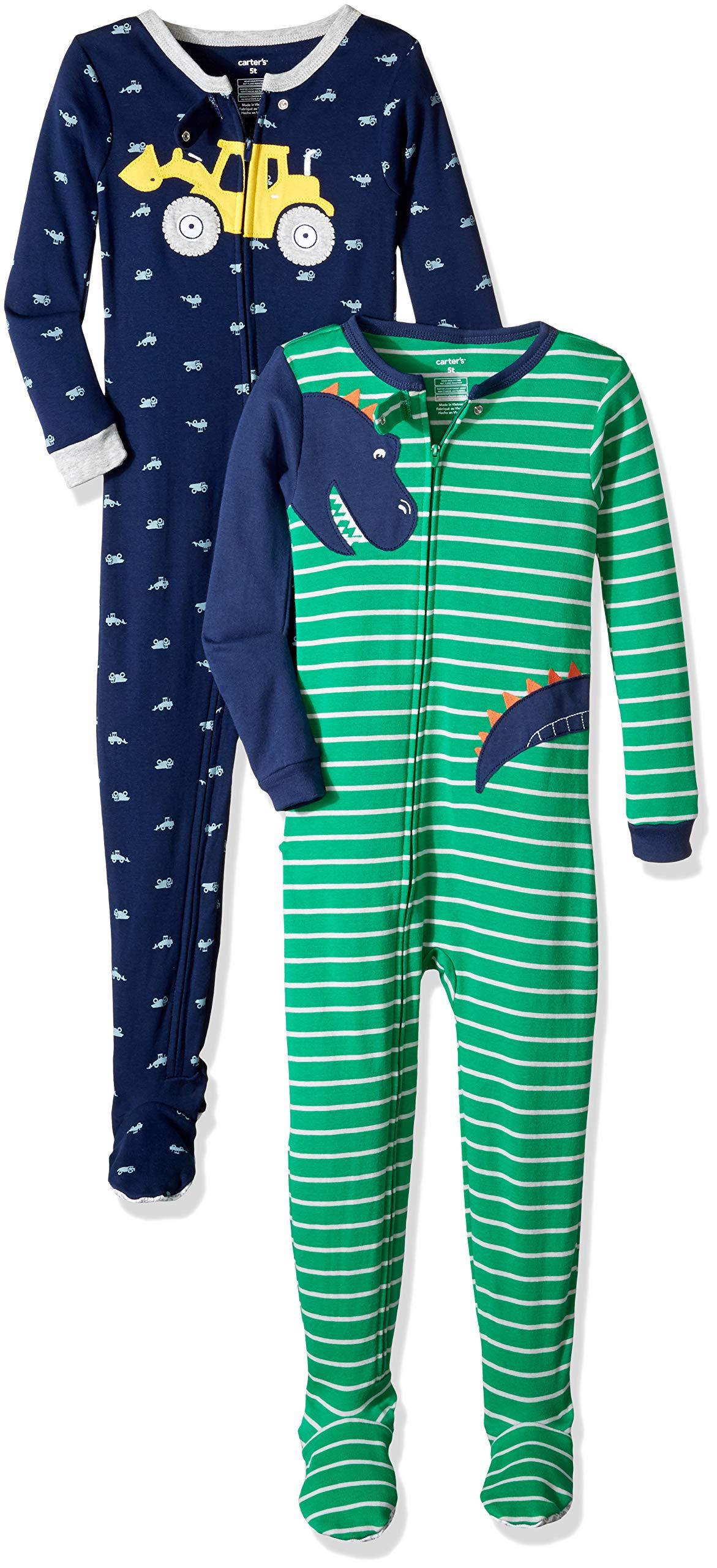 Carter's Boys' Toddler 2-Pack Cotton Footed Pajamas, Dinosaur/Digger, 3T