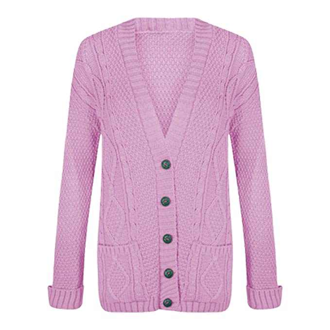 592caabe2bfb Womens Chunky Cable Knitted Ladies Boyfriend Grandad Pocket Button Top  Cardigan  Amazon.co.uk  Clothing