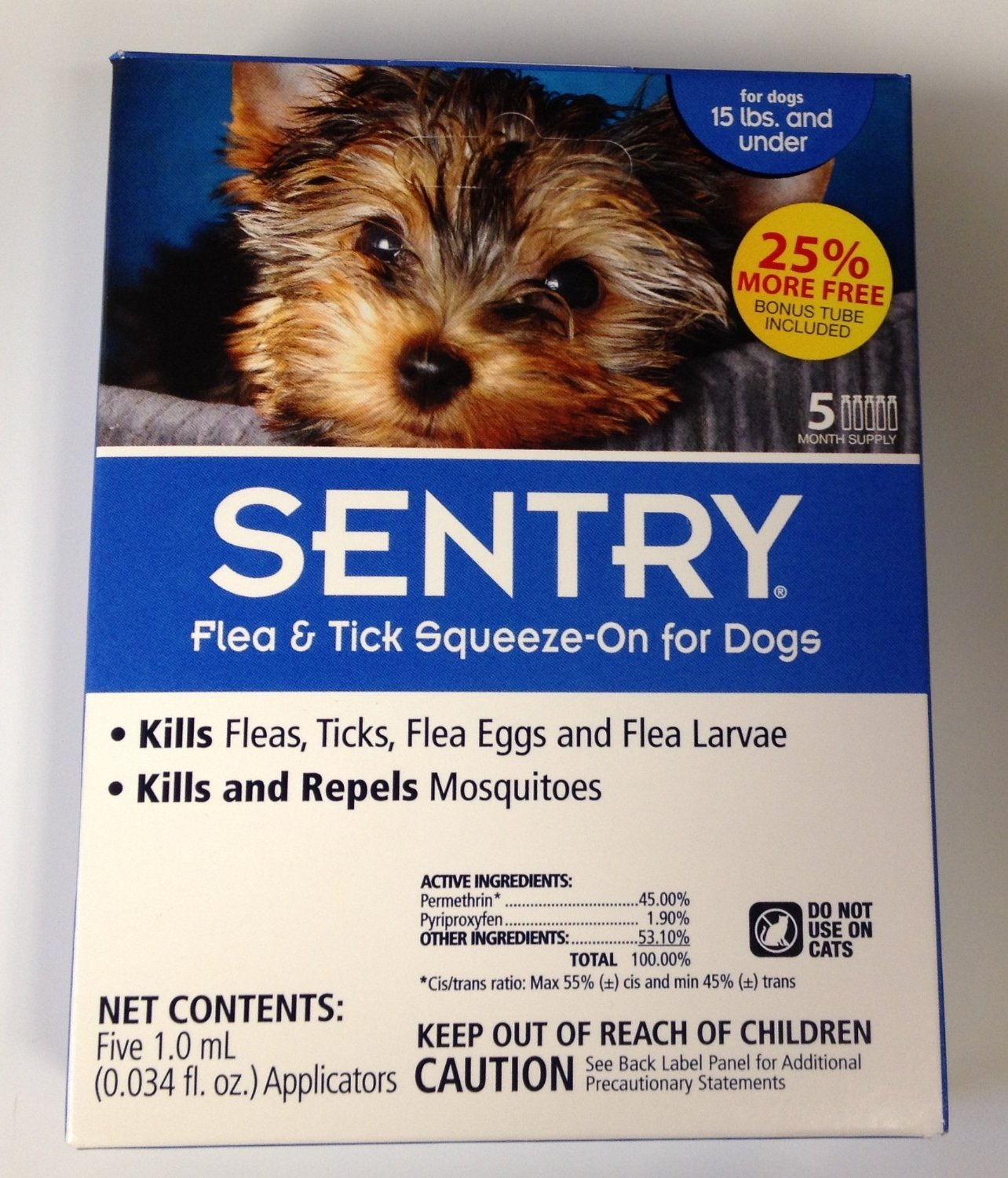 Sentry Sergeants Pet Care Product 5 Count Flea and Tick Squeeze-On Dog Drop.