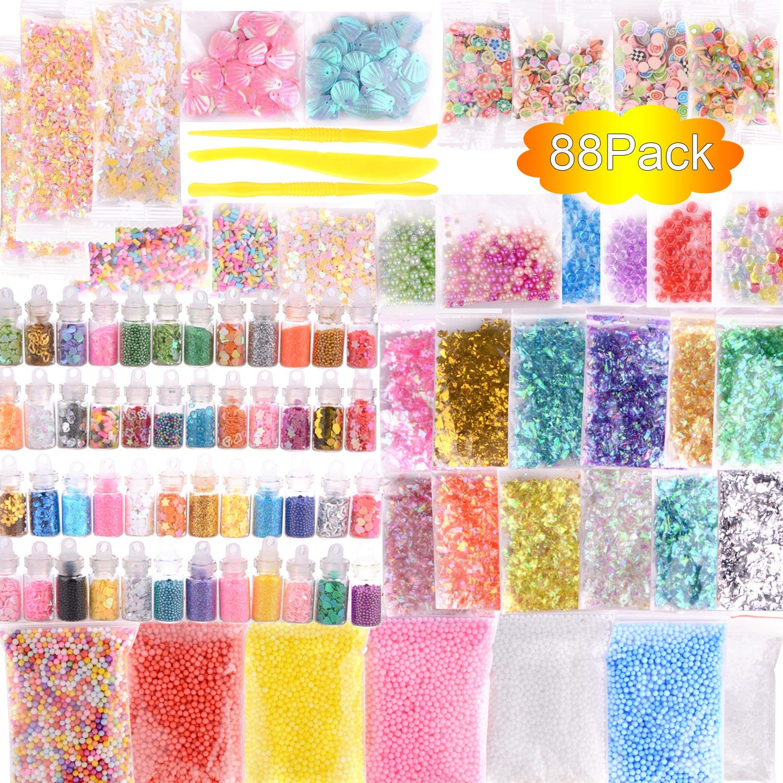 Paquete de 88 unidades de accesorios delgados, abalorios y cristal transparente delgado que incluyen tarros con purpurina, papel de azúcar, cuentas de peces ...