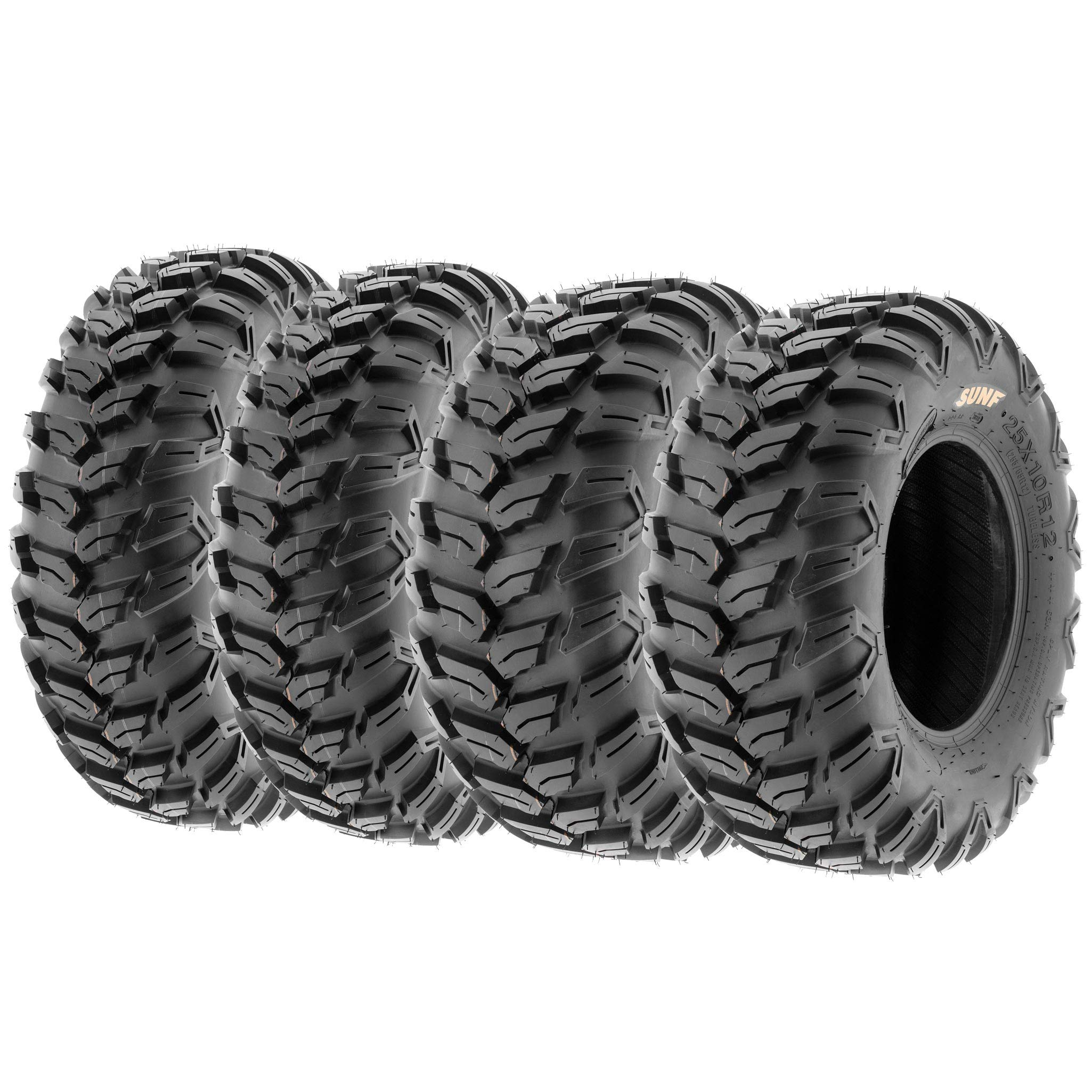 Set of 4 SunF A043 XC Racing ATV UTV Radial Sport Tires 25x8R12 Front & 25x10R12 Rear, 6PR, All-Terrain Off-Road & Track