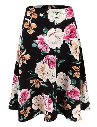 ecdc1d472e Doublju Womens High Waist Midi A-Line Skirt at Amazon Women's ...