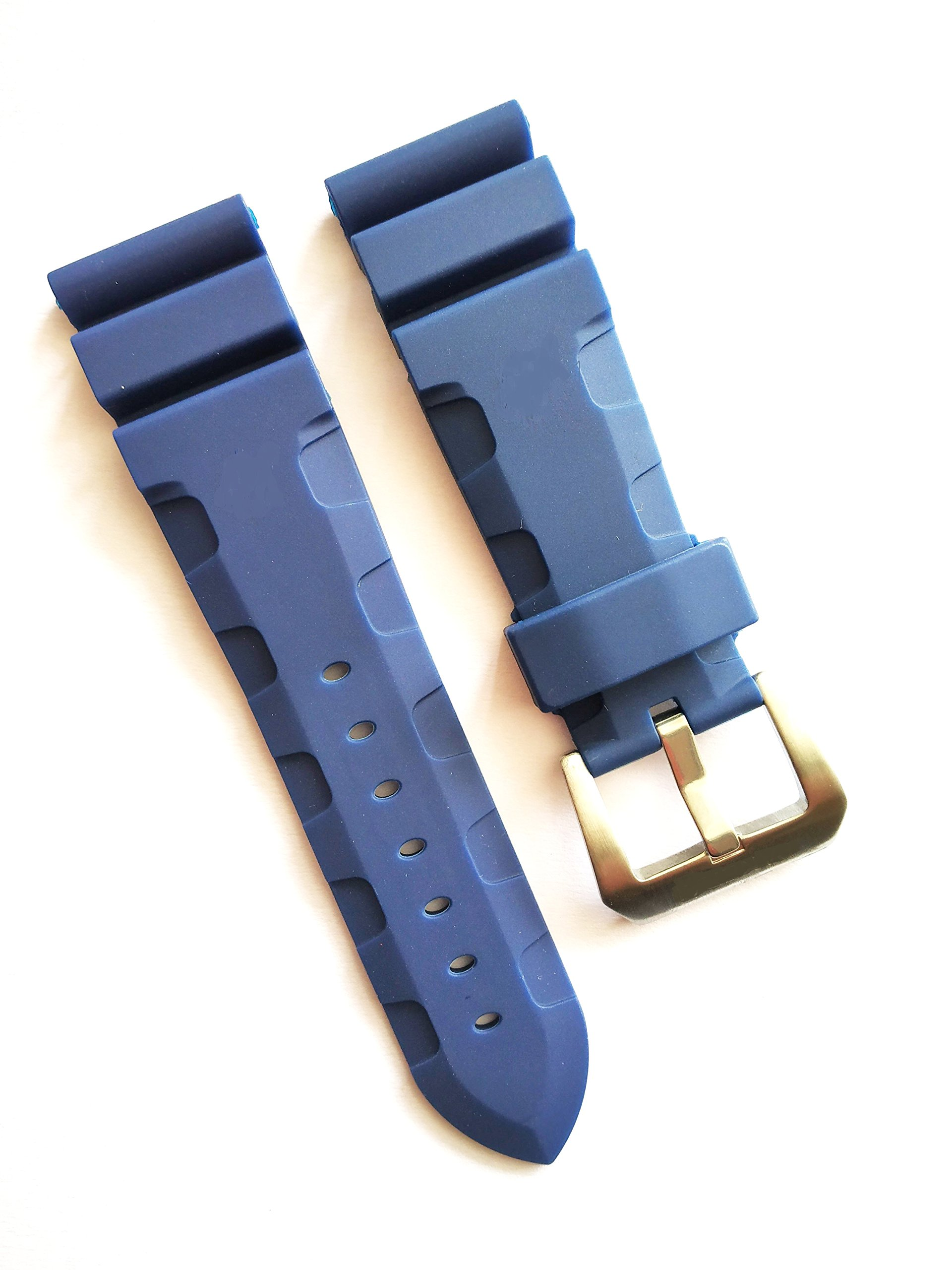 Compatible 24mm Blue Rubber Watch Strap Band Fits Alt Panerai by UnBranded/Generic