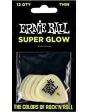 Ernie Ball P09224 Super Glow Cellulose Thin Picks, Bag of 12, Thin