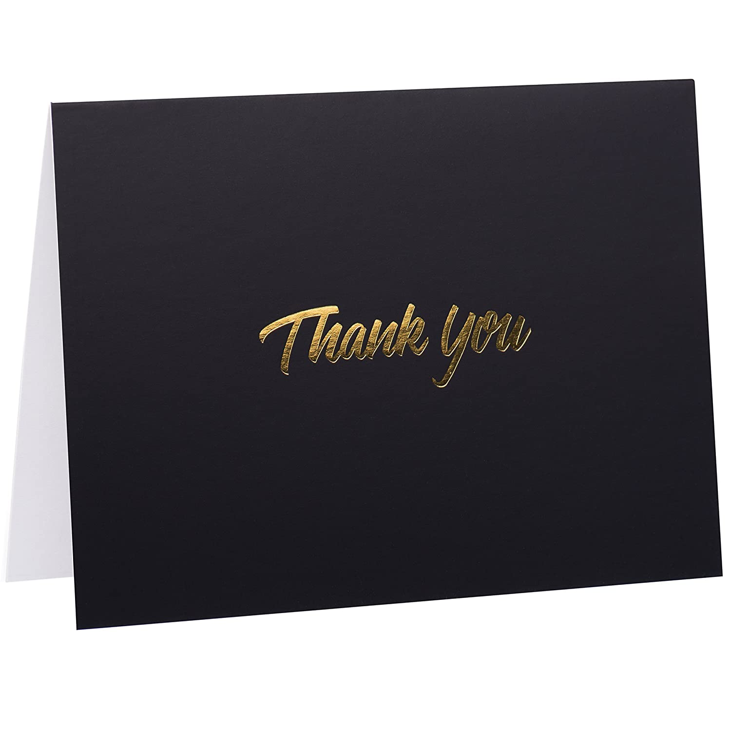 100 thank you cards black bulk note cards with gold