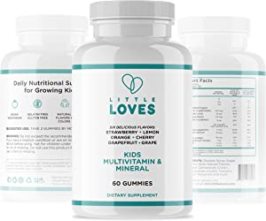 Little Loves Kids Daily Multivitamin Gummies (60 Count) - 10 Whole Food Minerals and Natural Vitamins - Vegan with No Artificial Flavor or Color - 6 Yummy Flavors - Chewable Supplement for Children