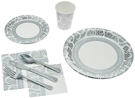 241 Piece Disposable Dinnerware Set - Paper plates Cups Napkins Cutlery Elegant  sc 1 st  Amazon.com & Amazon.com: 241 Piece Disposable Dinnerware Set - Paper plates Cups ...