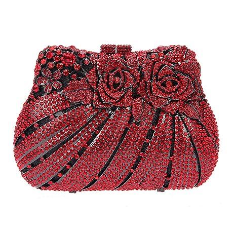 Bonjanvye Multicoloured Studded Diamond and Rhinestone Rose Print Bouquet Clutch Handbag AB Gold: Amazon.es: Equipaje