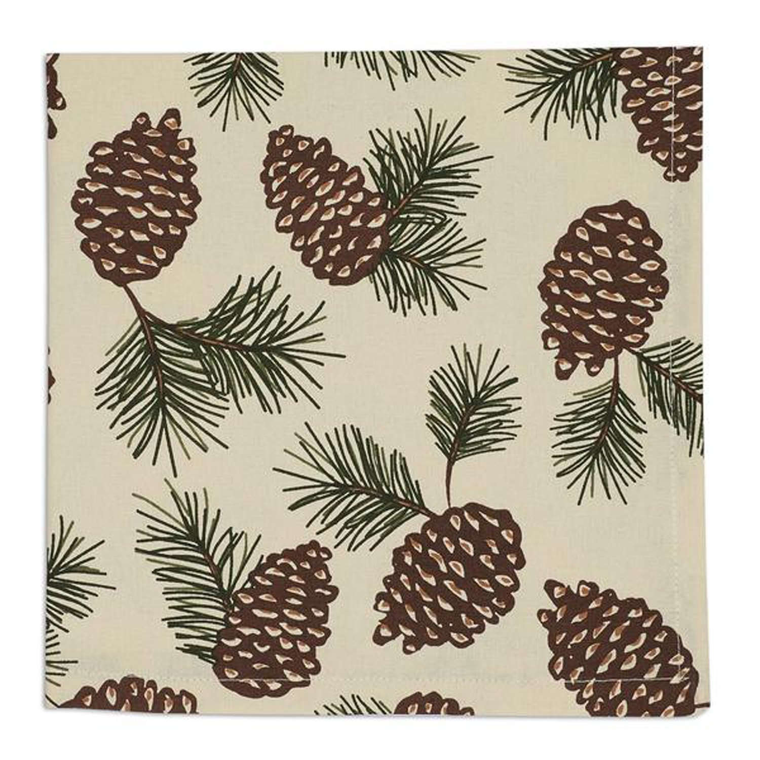 Design Imports Mountain Pine Cotton Table Linens, Napkin 20-Inch by 20-Inch, Pinecone Print by Design Imports