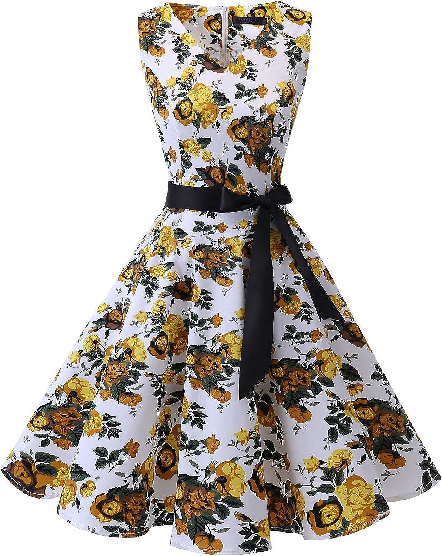TALLA XXL. Bridesmay Vestido de Cóctel Fiesta Mujer Verano Años 50 Vintage Rockabilly Sin Mangas Pin Up Yellow Flower XXL