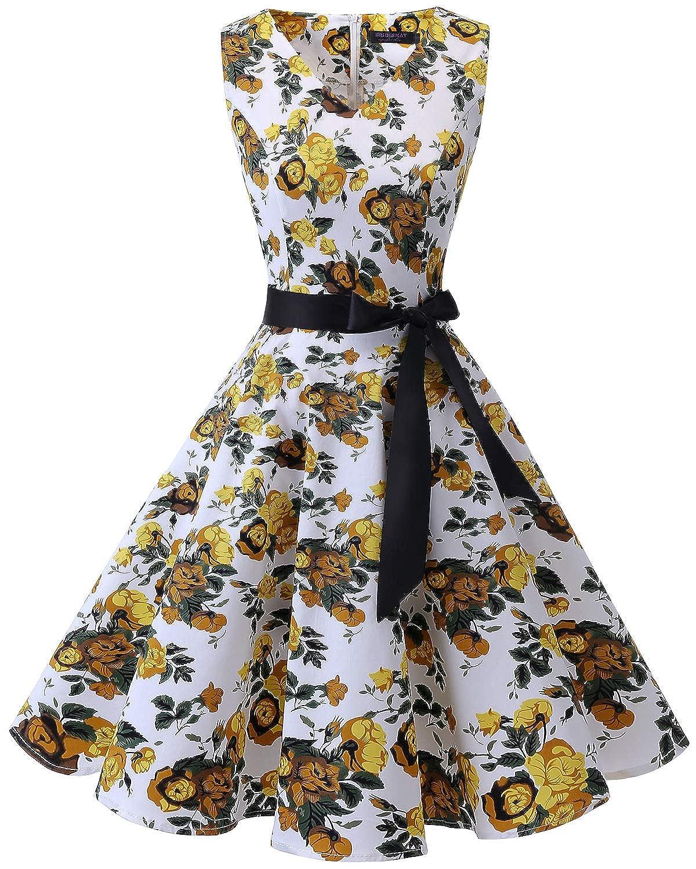 TALLA 3XL. Bridesmay Vestido de Cóctel Fiesta Mujer Verano Años 50 Vintage Rockabilly Sin Mangas Pin Up Yellow Flower 3XL