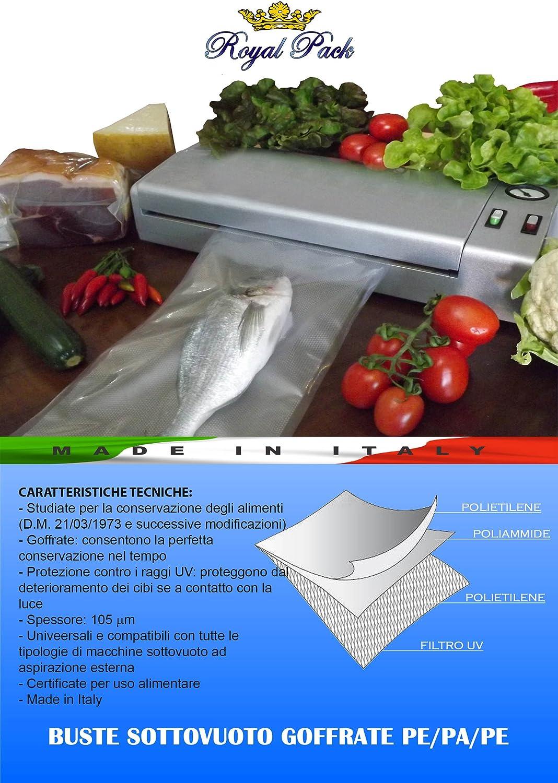 ROYAL PACK sobres y bolsas para envasar al vacío goffrati para alimentos 25 x 40 unidades de 100 bolsas: Amazon.es