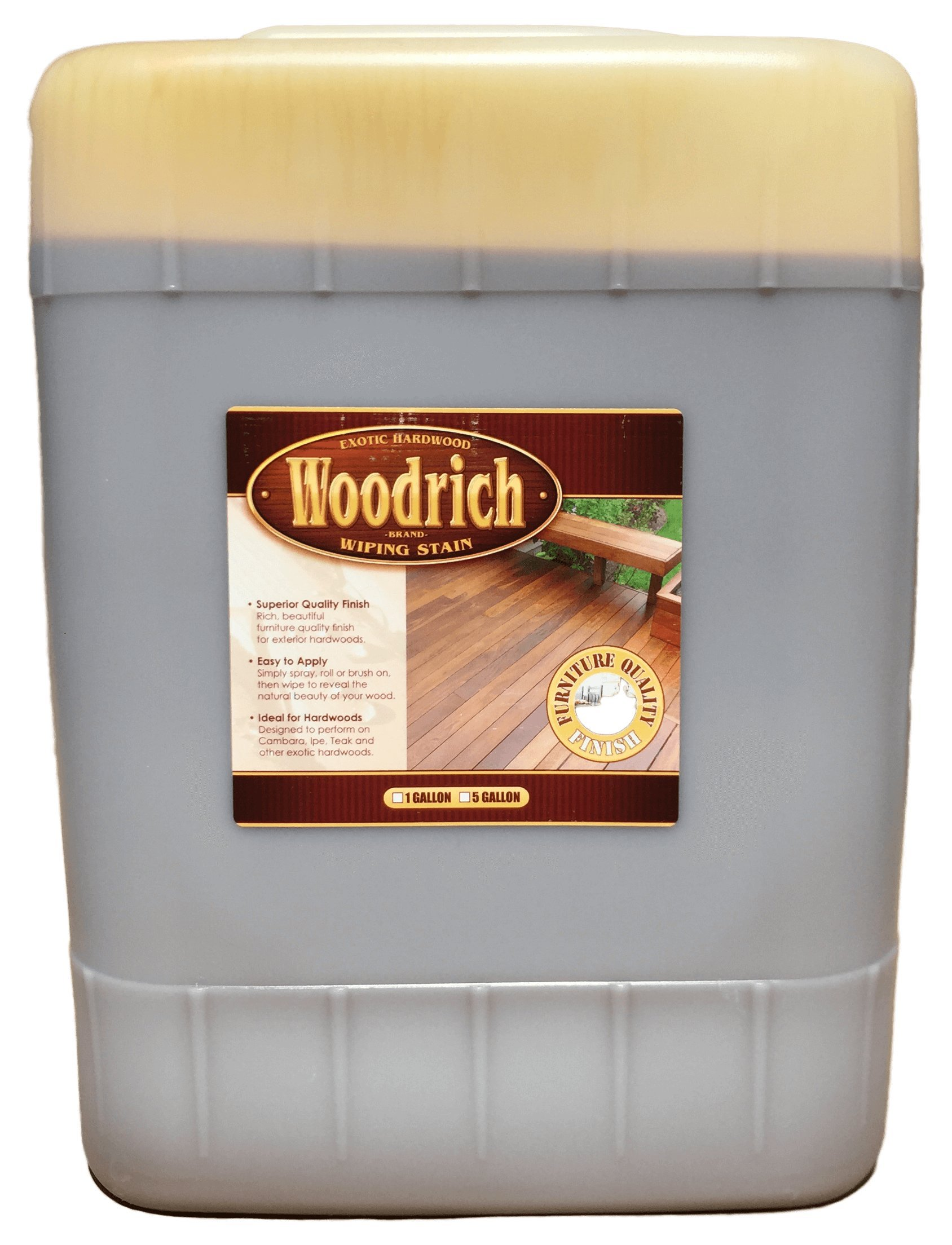 Hardwood Wiping Wood Deck & Fence Stain - 5 Gallon - Woodrich Brand - Great on all Exotic Hardwood like Ipe, Garapa, Teak, Mahogany, & Cambara - Covers up to 1500 Square Feet (Brown Sugar)