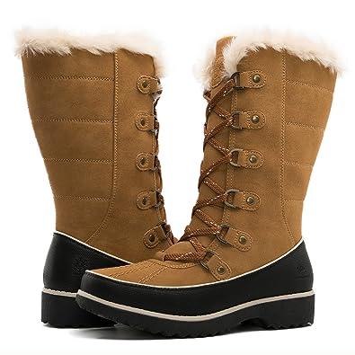 Global Win GLOBALWIN Women's 1729 Camel Waterproof Winter Boots 10M US