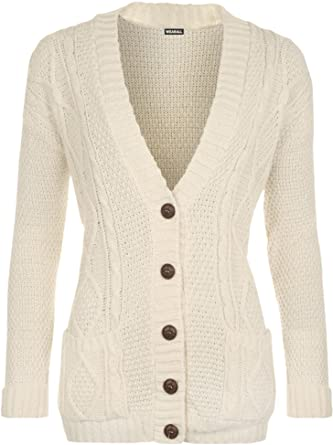 4f83a4f972f WearAll Womens Cable Knitted Button Cardigan Long Sleeve Ladies Boyfriend  Top Sizes 8-14