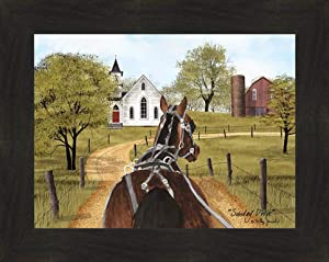 Home Cabin Décor Sunday Drive by Billy Jacobs 16x20 Horse Buggy Church Red Barn Country Silo Fence Framed Art Print Picture