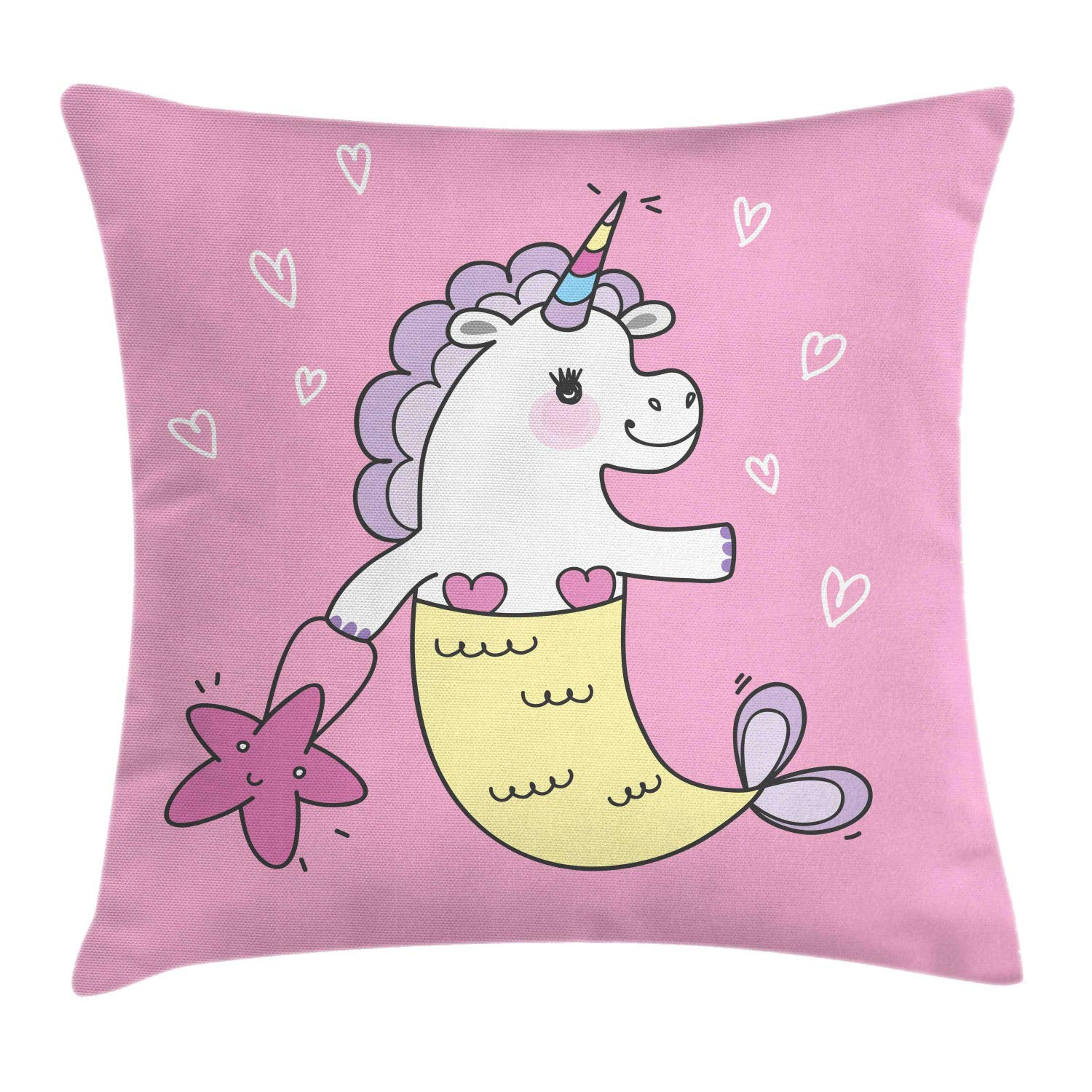 Lunarable Cartoon Throw Pillow Cushion Cover, Creature Unicorn and Mermaid with Starfish Bag Nursery, Decorative Square Accent Pillow Case, 40'' X 40'', Baby Pink Multicolor by Lunarable