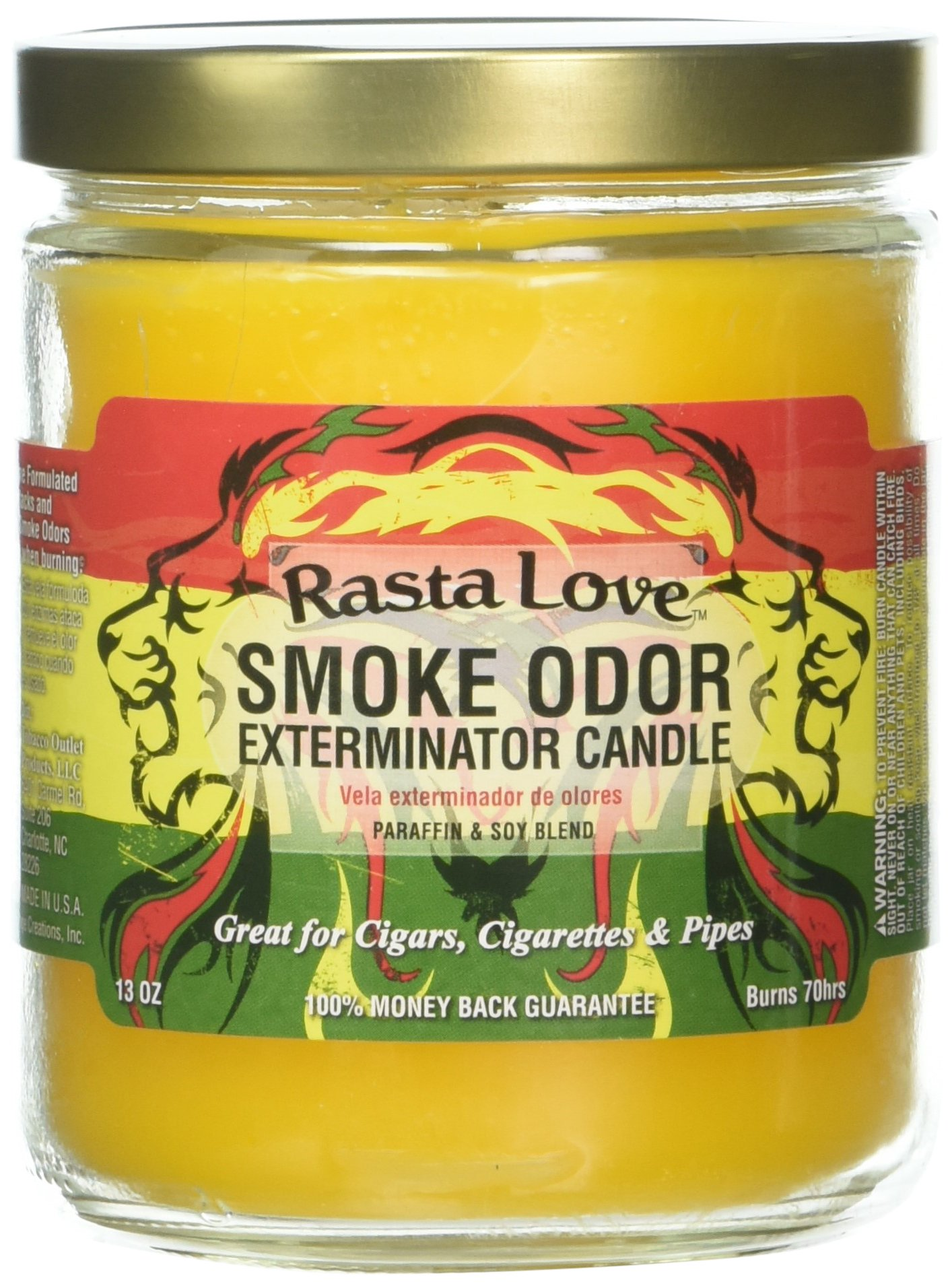 Smoke Odor Exterminator 13oz Jar Candle, Rasta Love