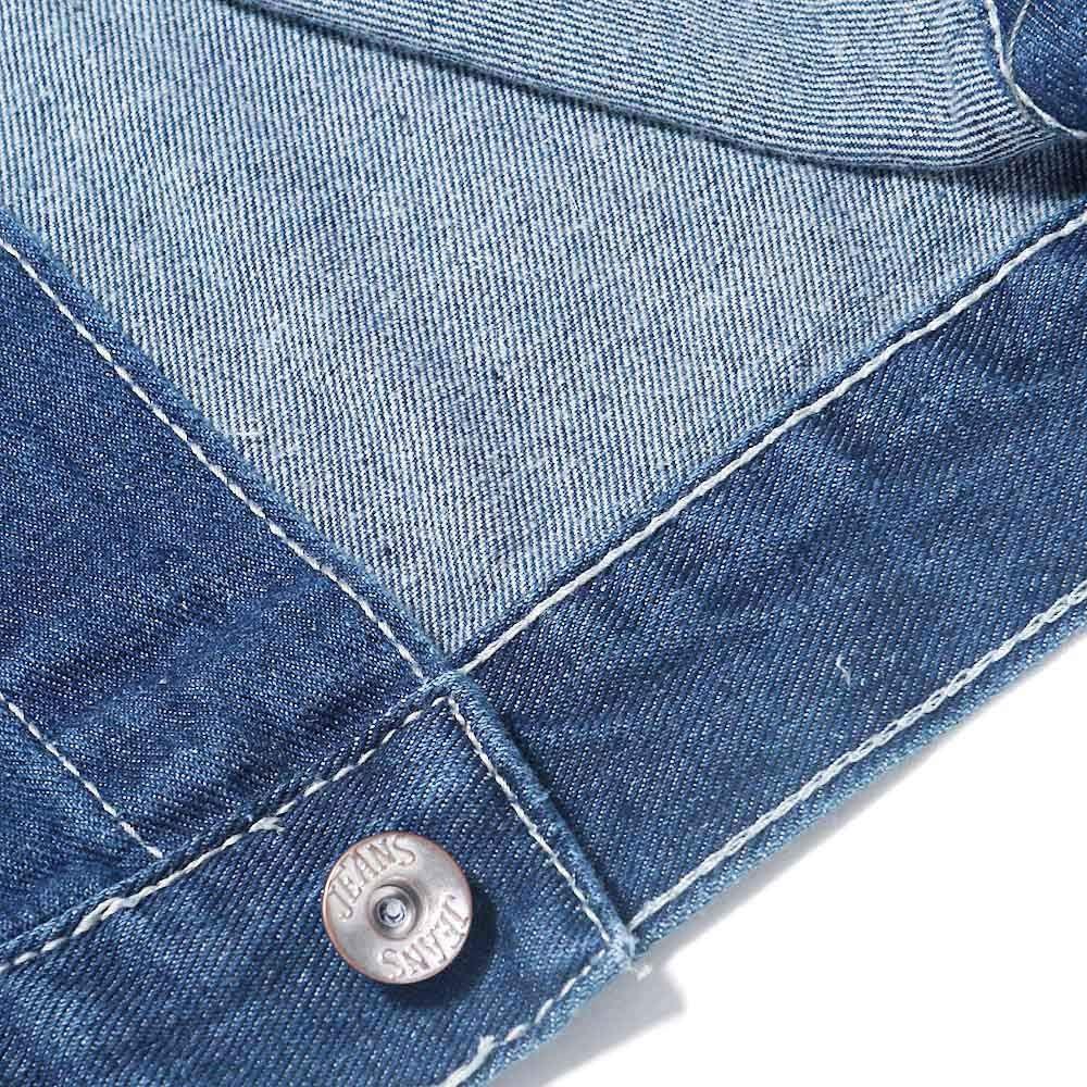 Pervobs Mens Vintage Wash Distressed Denim Long Sleeve Button-Down Coat Jacket
