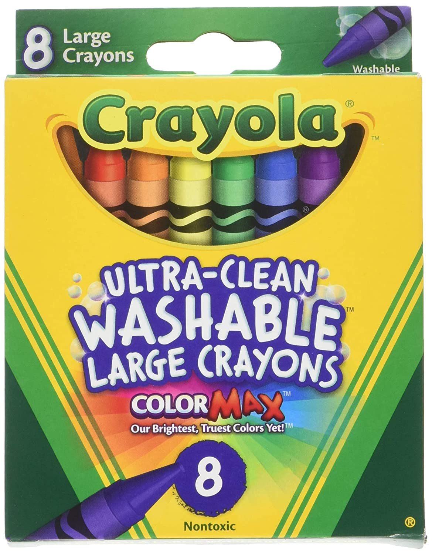 Crayola Washable Crayons, Large, 8 Colors/Box (52-3280) (4 Pack) BINNEY & SMITH / CRAYOLA 523280