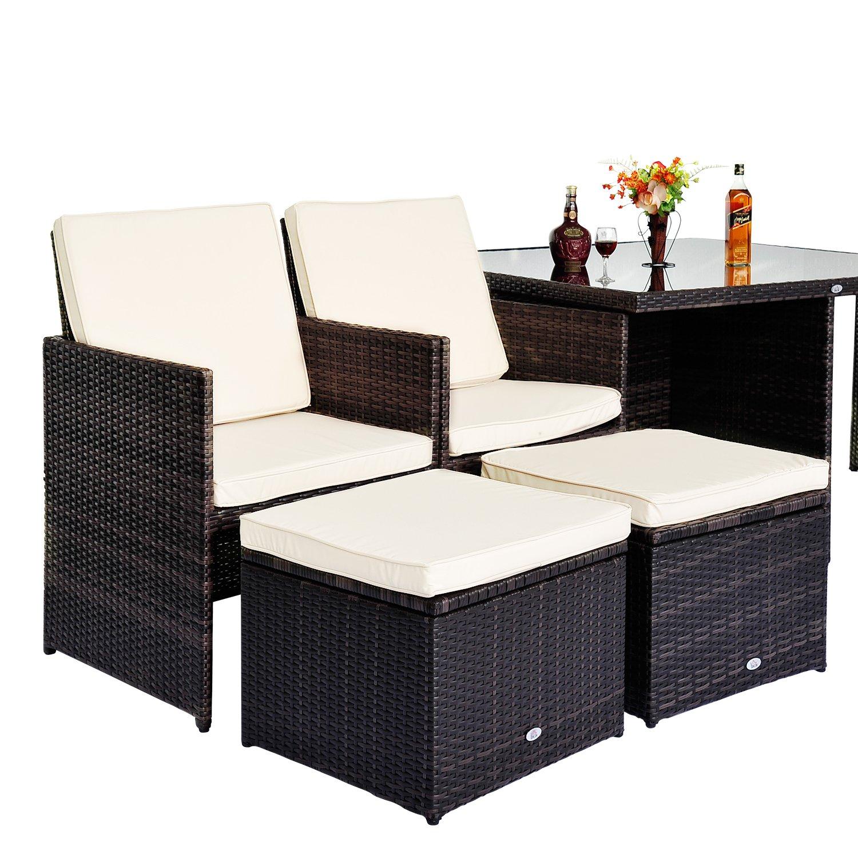 rattan 4 seater cube table dining garden furniture set fasci garden. Black Bedroom Furniture Sets. Home Design Ideas