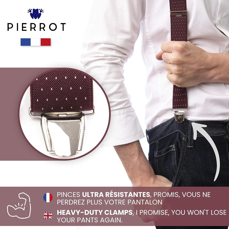 Fatto in Francia Prima Qualit/à Bretelle Uomo Eleganti Taglia Unica Regolabile Fino a 130 CM PIERROT Extra Forte Clip 29 Colori