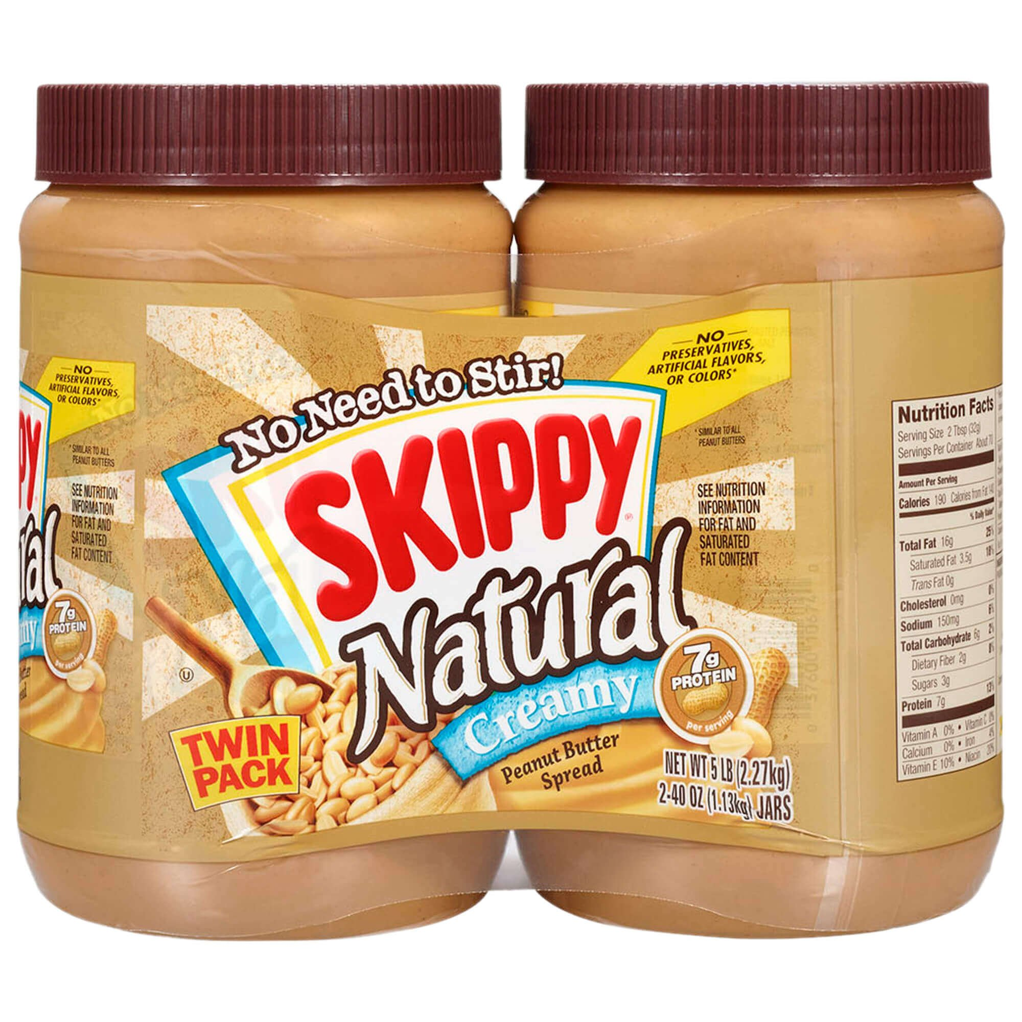 Skippy Natural Creamy Peanut Butter Spread Twin Pack, 40 Ounce