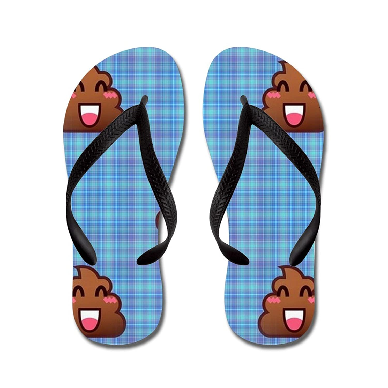 Lplpol Plaid Poo Emoji Flip Flops for Kids and Adult Unisex Beach Sandals Pool Shoes Party Slippers
