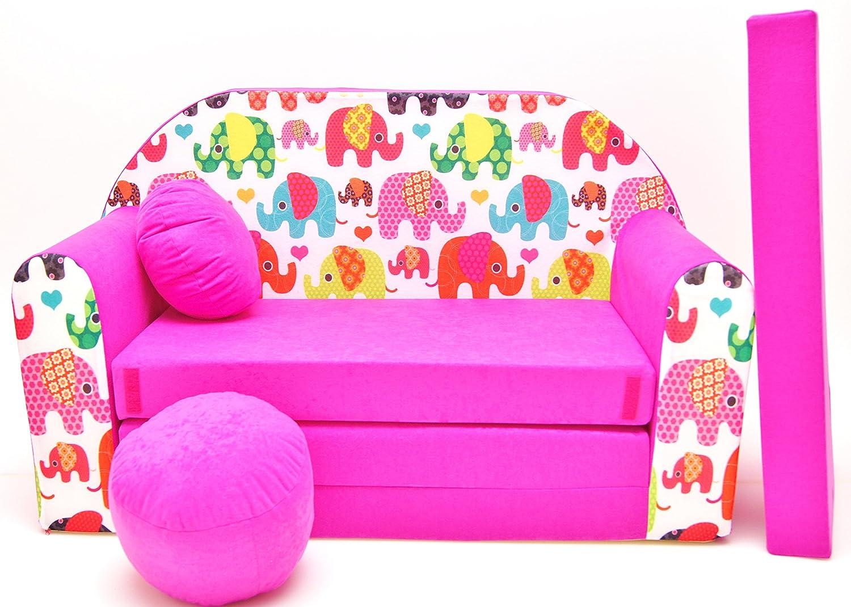 Pro Cosmo - Canapé-lit pour Enfant H9 - avec Pouf/Repose-Pieds/Oreiller - en Tissu - Multicolore - 168x 98x 60cm 640791944178