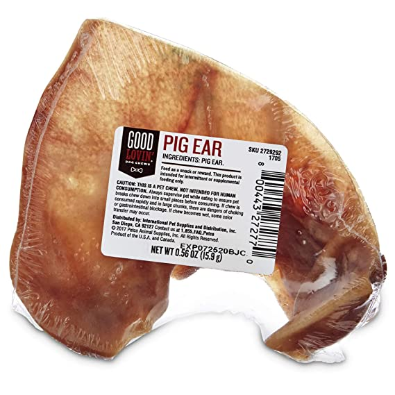 Amazon.com : Good Lovin Pig Ear Dog Chew, 0.56 oz, Pack of 1 : Pet Supplies