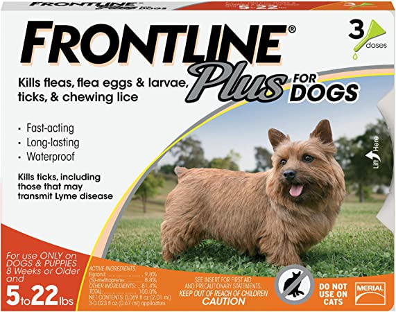 Amazon Com Frontline Plus Flea And Tick Treatment For Dogs Small Dog 5 22 Pounds 3 Doses Pet Flea And Tick Repellents Pet Supplies