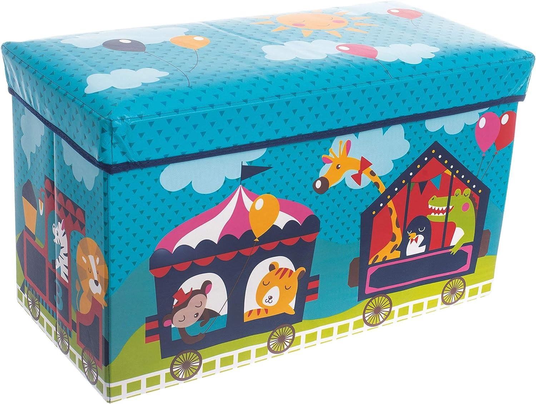 Bieco Boîte de Rangement de thème Cirque pour Enfants avec Siège Rembourré | Coffret à Jouets Unisexe avec Couvercle | Coffre Pliable Turquoise | Boîte de Rangement Pliable de 66 L | Ref. 04000564