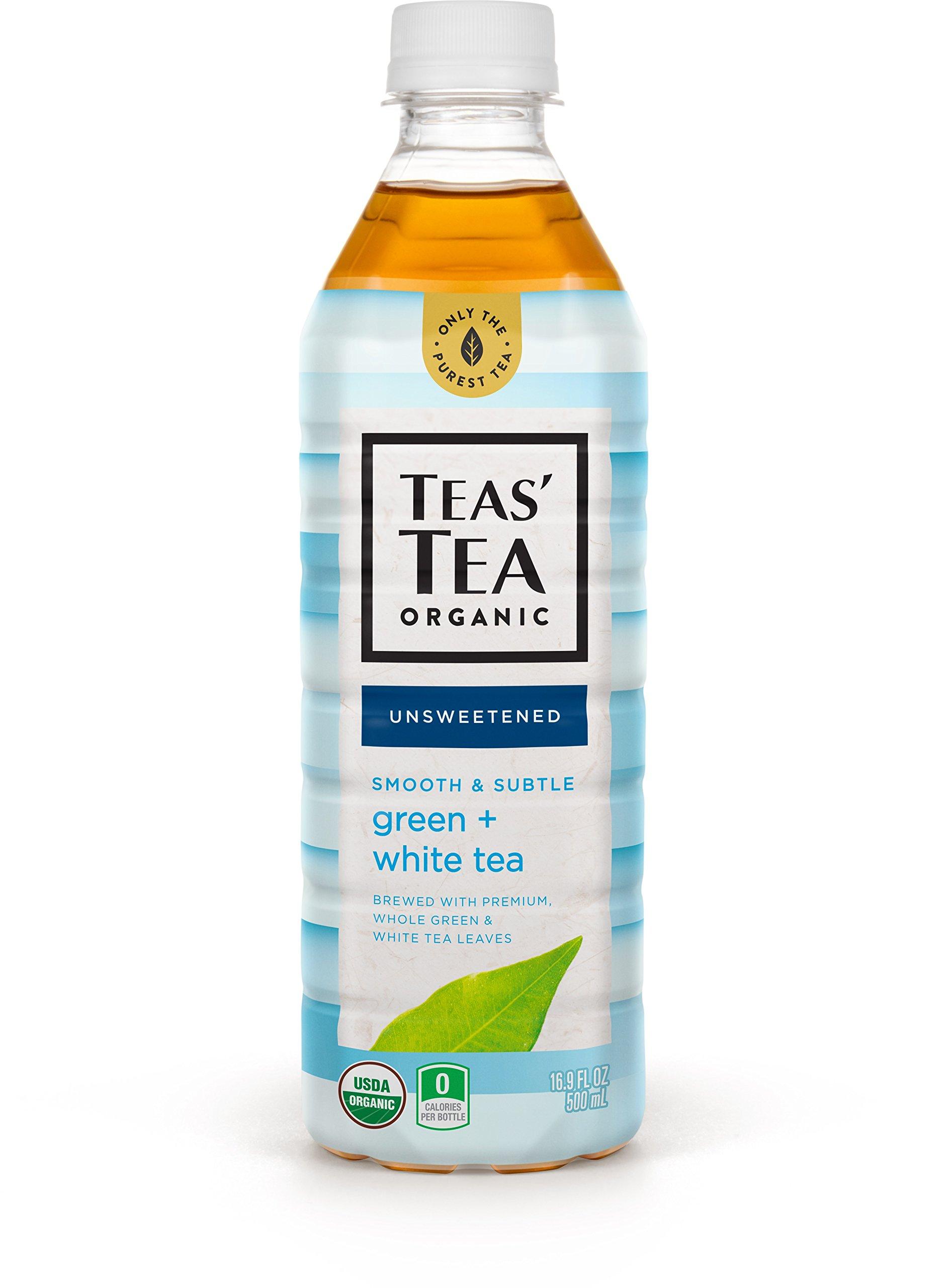 Teas' Tea Unsweetened Green White Tea 16.9 Ounce (Pack of 12) Organic Zero Calories No Sugars No Artificial Sweeteners Antioxidant Rich High in Vitamin C